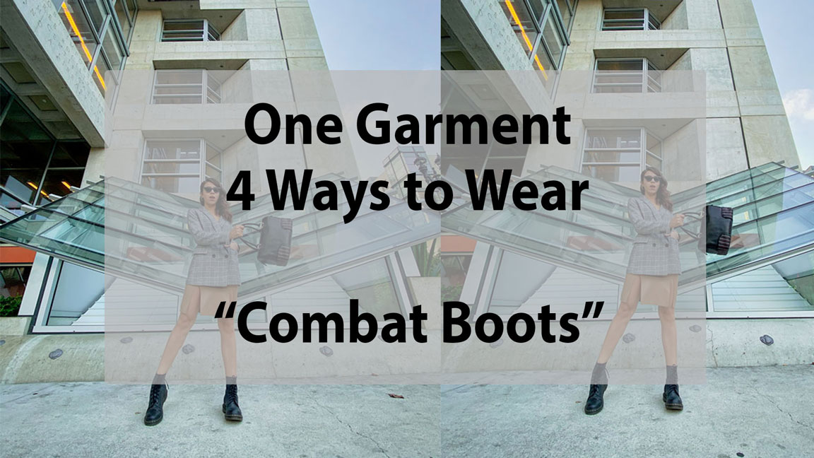 A girl wearing combat boots