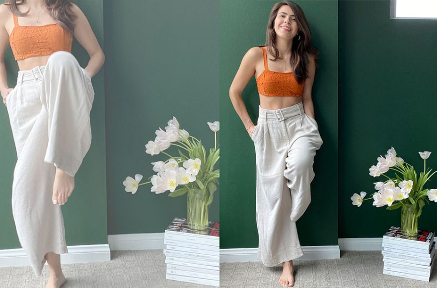 wearing wide leg pants while staying at home